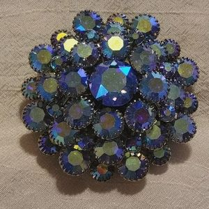 Stunning blue/clear stacked rhinestone brooch